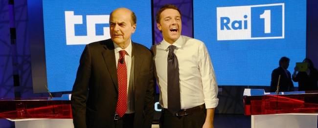 """Sfida Tv, Renzi : """"Da Bersani mi divide l'idea di futuro""""</br>Il segretario: """"L'esperienza non si prende a calci"""""""
